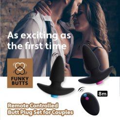 Set Butt Plug Cuplu FunkyButts Remote Controlled pentru cupluri